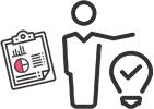 アイコン:人物がデータを扱い問題を解決するイメージのイラスト
