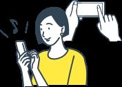 イラスト:会員登録をしている女性のイメージイラスト