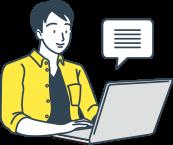 イラスト:PCを使用し口コミ投稿を行っている男性のイメージイラスト