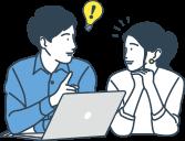イラスト:PCを使用し口コミ投稿を見ているカップルのイメージイラスト